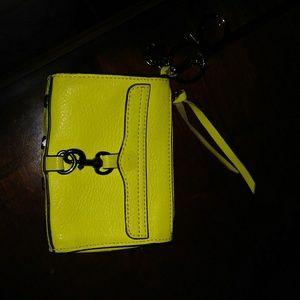 Rebecca Minknoff leather coin purse yellow clip